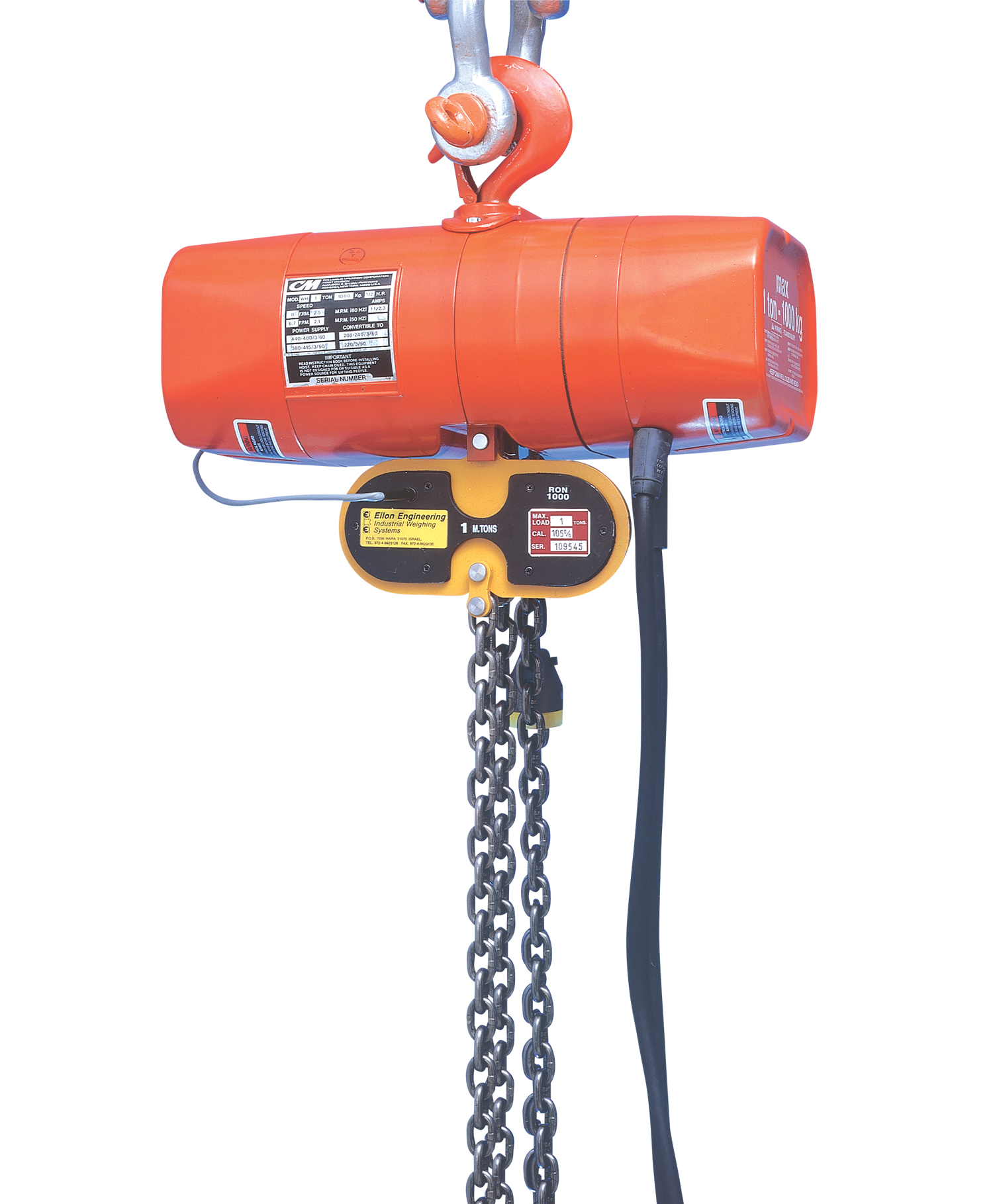 Overload detector for chain installation